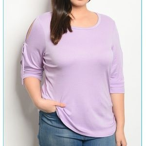 Tops - Lilac 3/4 Sleeve Plus Size Top